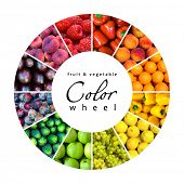 pic of fruits vegetables  - fruit and vegetable color wheel  - JPG