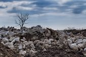 Rainy Sky In The Background Of The Stones Of A Junkyard With A Dry Tree On The Horizon. poster