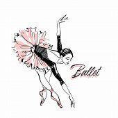 Ballerina In Pink Ballet Tutu. Dancer In A Beautiful Pose. Ballet. Inscription. Vector Illustration. poster