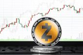 Zcash (zec) Cryptocurrency; Physical Concept Zcash Coin On The Background Of The Chart poster