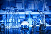 Laboratory Interior. Laboratory Equipment - Glass Beakers. Science Concept. poster