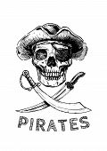 Jolly Roger. Pirate Flag. Vector Illustration Of Pirates Skull With Two Cross Swords In Ink Hand Dra poster