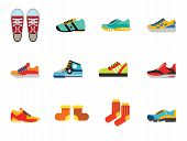 Shoes Icon Set. Sneakers Summer Shoes Sport Boots Trainer Jogging Shoe Gymshoe Running Shoe Football poster