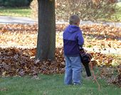 stock photo of leaf-blower  - Young boy using a leaf blower on the lawn - JPG
