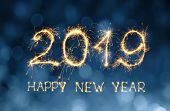 Greeting Card Happy New Year 2019. Beautiful Holiday Web Banner With Golden Text Happy New Year 2019 poster