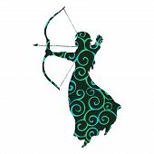 Elf Pattern Silhouette Ancient Mythology Fantasy. Vector Illustration. poster