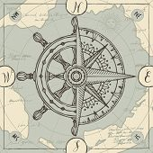 Hand-drawn Vector Banner With A Wind Rose, Old Nautical Compass And Steering Wheel In Retro Style. I poster