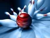 A fun 3d render of a bowling ball crashing into the pins. Extreme perspective, depth of field focus