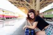 Portrait Happiness Beautiful Traveler Woman. Pretty Girl Get Satisfied, Happy, Enjoy Her Travel. She poster