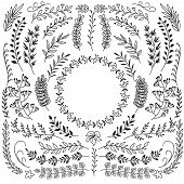 Hand Drawn Branches With Leaves. Decorative Floral Wreath Border Frames. Rustic Doodle Vector Set. I poster