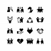 Friends, Buddies, Man Hug Line Icons. Friendship, Harmony And Friendly Group Outline Symbols Isolate poster