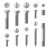 Realistic 3d Metal Bolts, Nuts, Rivets And Screws Isolated Vector Set. Illustration Of Elements For  poster