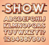 Light Bulb Alphabet With Bright Red Frame And Shadow On Red Backgrond. Glowing Retro Vector Font Col poster