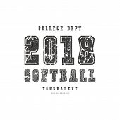 Typographic Emblem Of Softball Team. Graphic Design With Rough Texture For T-shirt. Black Print On W poster