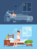 Man Sleeping Under Warm Duvet At Night, Waking Up Morning And Getting Out Of Comfortable Soft Bed. P poster