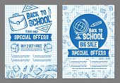 Back To School Sale And Special Offer Posters Set Of Stationery Pattern On Checkered Blue Ink Backgr poster