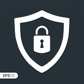 Abstract Security Vector Icon Illustration Isolated On Black Background. Shield Security Icon. Lock  poster