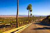 Scenic Road Leading To Palm Springs In California, Usa. It Is A Desert Resort City In Riverside Coun poster