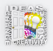 A door opening to show light bulbs and surrounded by the words Ideas, Innovation, Improvement, Solve