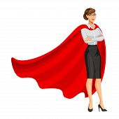 Superhero Woman In Red Cape, Female Hero, Businesswoman Superhero. Girl In Business Style Look. Prof poster