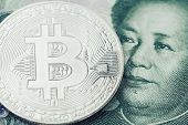 Bitcoin Crypto Currency, Digital Money In China Concept, Closed Up Shot Of Physical Coin With B Sign poster