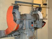 pic of tuck-shop  - The image a rotor of lathe in the thrown worker to shop of a workshop - JPG