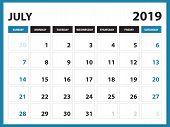 Desk Calendar For July 2019 Template, Printable Calendar, Planner Design Template,  Week Starts On S poster