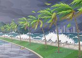 Beginning Of Storm In Ocean, Huge Waves, Dark Sky, Palm Trees On High Wind Along Coast. Tropical Lan poster