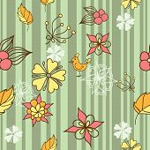 Seamless Background With Flowers And Birds