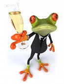 stock photo of glass frog  - Frog and champagne - JPG