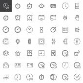 Time Outline Icons Set. Linear Style Symbols Collection, Line Signs Pack. Vector Graphics. Set Inclu poster