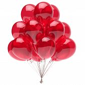 Red Balloon Bunch Shiny, Party Birthday Decoration, Helium Balloons Bunch Glossy. Happy Holiday Anni poster