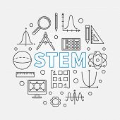 Stem Round Modern Illustration In Outline Style. Vector Science, Technology, Engineering, Math Circu poster