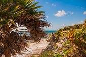 Ruins Of Tulum, Mexico Overlooking The Caribbean Sea In The Riviera Maya Aerial View. Tulum Beach Qu poster