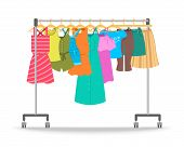 Women Summer Casual Clothes On Hanger Rack. Flat Style Vector Illustration. Female Apparel Hanging O poster