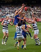 MELBOURNE - SEPTEMBER 24 : Dean Cox (top left) in a ruck contest during Geelong's preliminary final