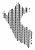 Schematic Peru Map. Vector Halftone Geographical Scheme. Grey Dot Cartographic Composition. Abstract poster