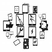 Device Repair Symbols Icons Set. Simple Illustration Of 16 Device Repair Symbols Vector Icons For We poster