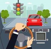 Man Hands Of A Driver On Steering Wheel Of A Car. Traffic Light. Vector Flat Style Illustration poster