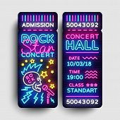 Rock Concert Ticket Design Template In Modern Trend Style. Rock Star Concert Tickets Vector Illustra poster