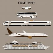 Постер, плакат: Vector Flat Illustration Of A Set Of Transport For Travel Tourist Transport A Car A Bus A Train