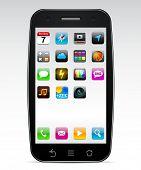 Vektor schwarz Konzept Communicator mit app-Icons.