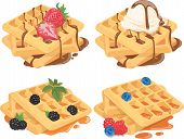 Collection Of Belgian Waffles With Fruit Fillings. A Set Of Sweet Pastries With Cream And Fruits. Me poster