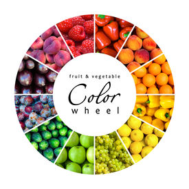 picture of color wheel  - fruit and vegetable color wheel  - JPG