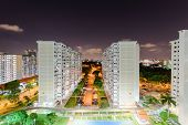 Top View Eunos Neighborhood Hdb Complex In Singapore At Evening poster