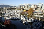 Granville Island And Marina From The Bridge
