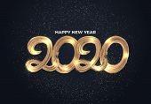 Happy New Years 2020 Card. Happy New Years 2020 Greeting Card Design Concept. 2020 Text, Number. Hap poster
