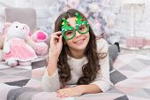 It Is The Season To Sparkle. Little Girl Smile With Party Look. Happy Child Celebrate Christmas And  poster