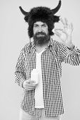 Tablet Has Power To Heal. Sick Hipster Take Pill Or Tablet. Bearded Man Hold Tablet And Bottle. Pill poster