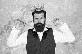 Cut And Shave. Big Barber Boss In Shaving. Big Boss Hold Shaving Razor And Scissors. Bearded Big Bos poster